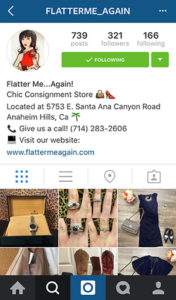instagram womens consignment shop profile example