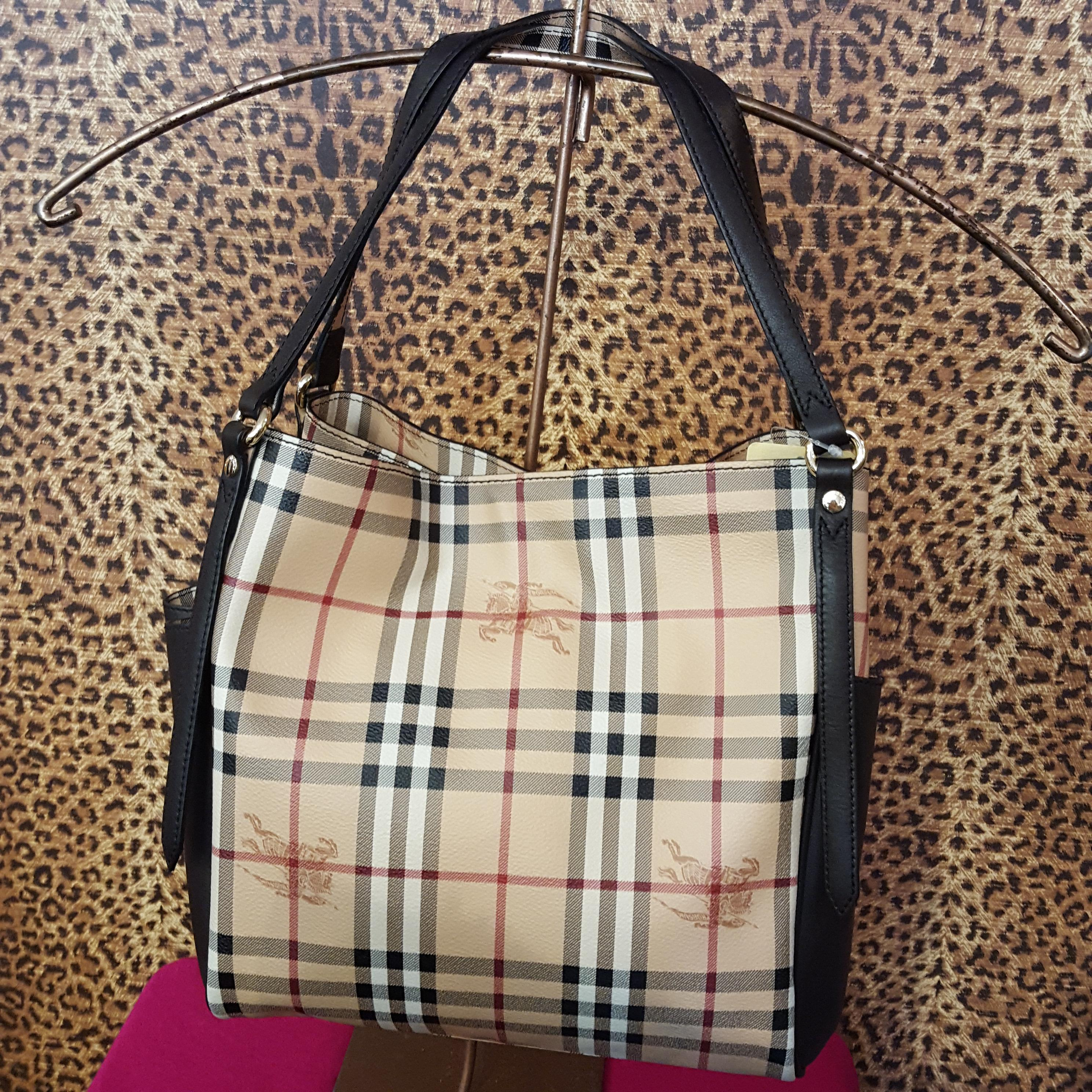 Burberry~ Black, Coated Canvas, Leather Purses, Handbags Price: $799.49