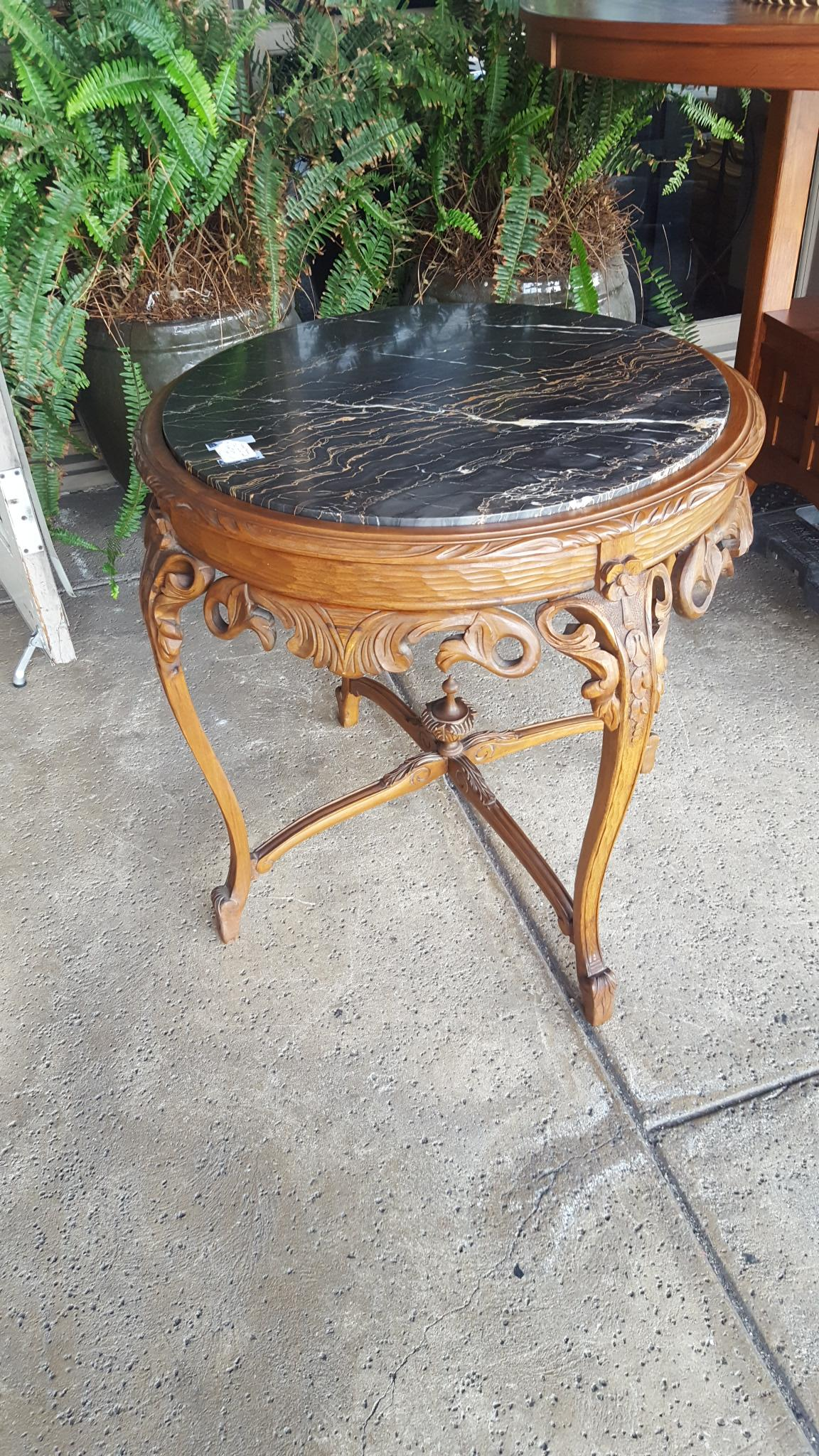 Hang carved antique side table with Furniture Price: $395.00