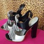 TOD'S~ Black, Grey & White, Top Fringe, Stacked Heel. For Sale