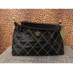 Chanel~ Black, Lamb Leather, Quilted Stitching, Top Zip, Single Handle. For Sale