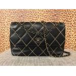 Chanel~ Black, Lamb, Flap Bag w/ Heavy Stitching, Convertible Chain Strap. For Sale