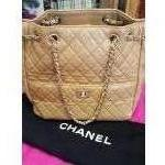 CHANEL ~ Camel,  Quilted, Lambs Leather, Dbl Handle, Silvertone Hardware. For Sale