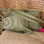 Bottega Veneta~ Green, Leather, Classic Woven, Double Handle w/ Embellishment. For Sale
