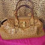 YSL~ Camel, Ostrich, Double Handle, Structured. For Sale