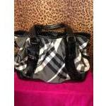 Burberry~ Black & White Fabric, Larry Check w/Blk Patent Leather, Dbl Handle, Ziptop. For Sale