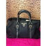 PRADA~ Black, Nylon, Boston Satchel w/ Black Leather Straps & Goldtone Hardware. For Sale