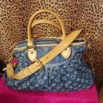 Louis Vuitton~ Denim, Fabric, Monogram, Double Handle, Shoulder Strap. For Sale