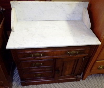 Washstand-walnut, handmade with marble Furniture Price: $195.00