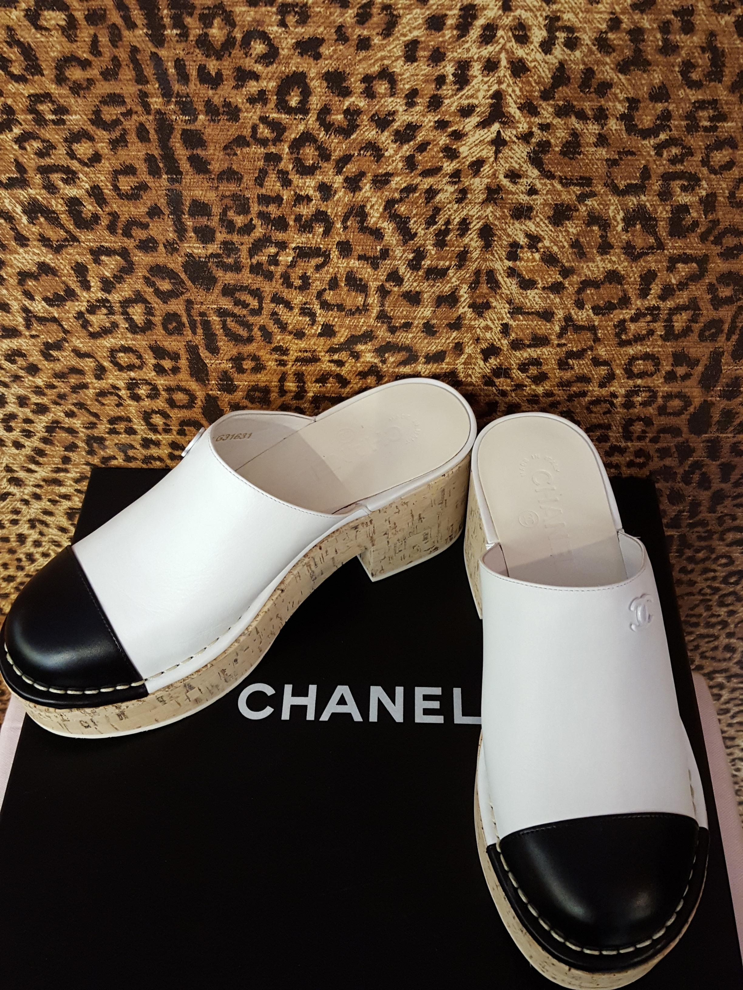 Chanel~ Black & White, Leather, Mules, Shoes Price: $713.99
