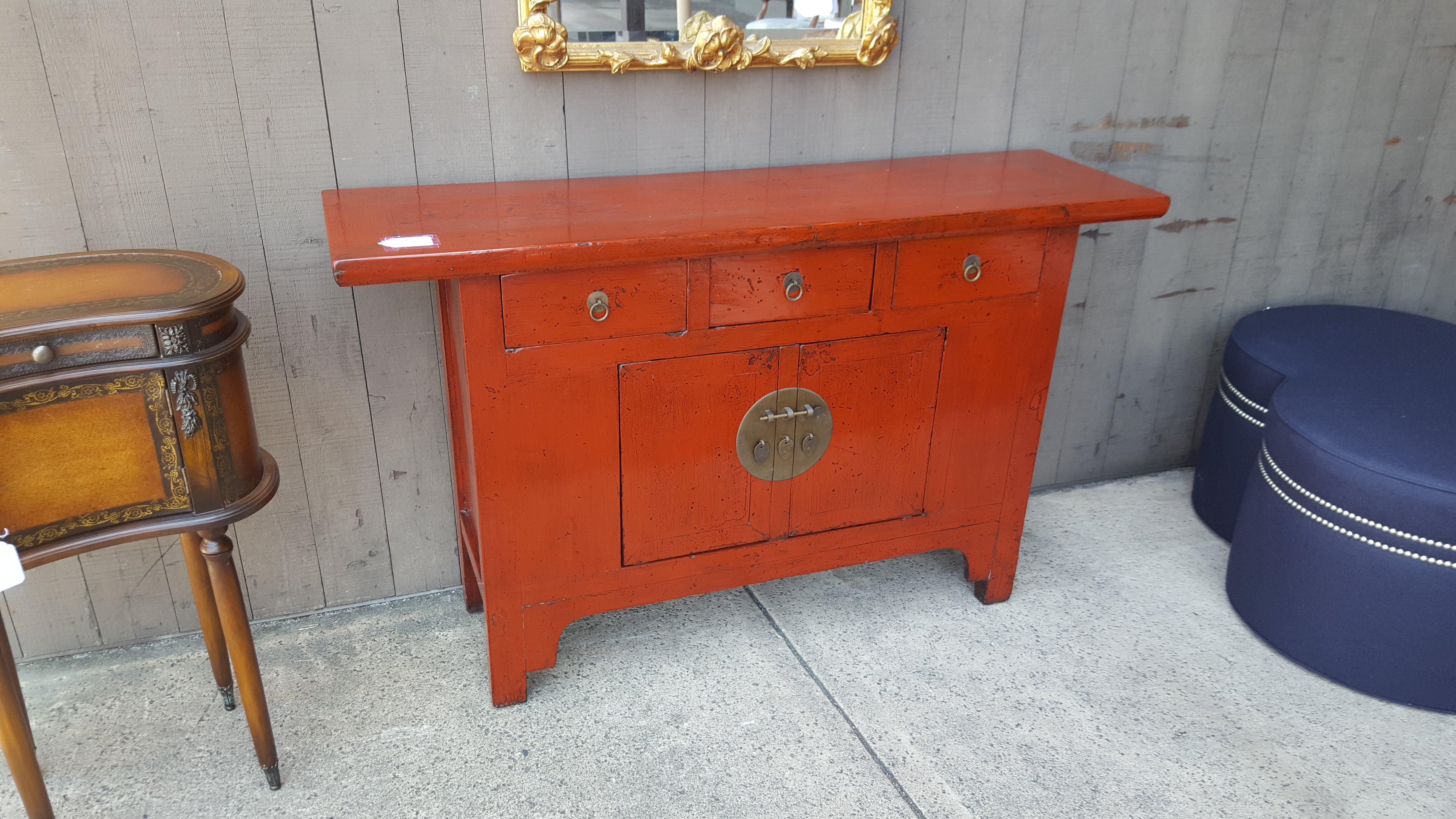 Elmwood red lacquered Chinese console Cabinets, Hutches Price: $495.00