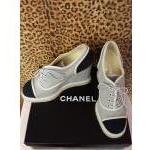 Chanel~ Black & White, Wedge. For Sale