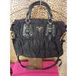 Prada~ Black, Nylon, Blk&Brown Stitching, Quilted Saffiano Handles & Crossbody. For Sale