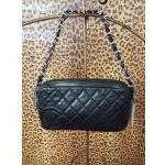 SOLD! Chanel~ Black, Leather, Quilted, ZipTop, Silvertone Handle. For Sale
