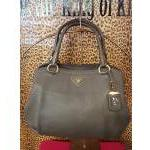 Prada~ Grey, Leather, Dble Handle, 3 Interior Pkts,  Top Zip, Goldtone. For Sale