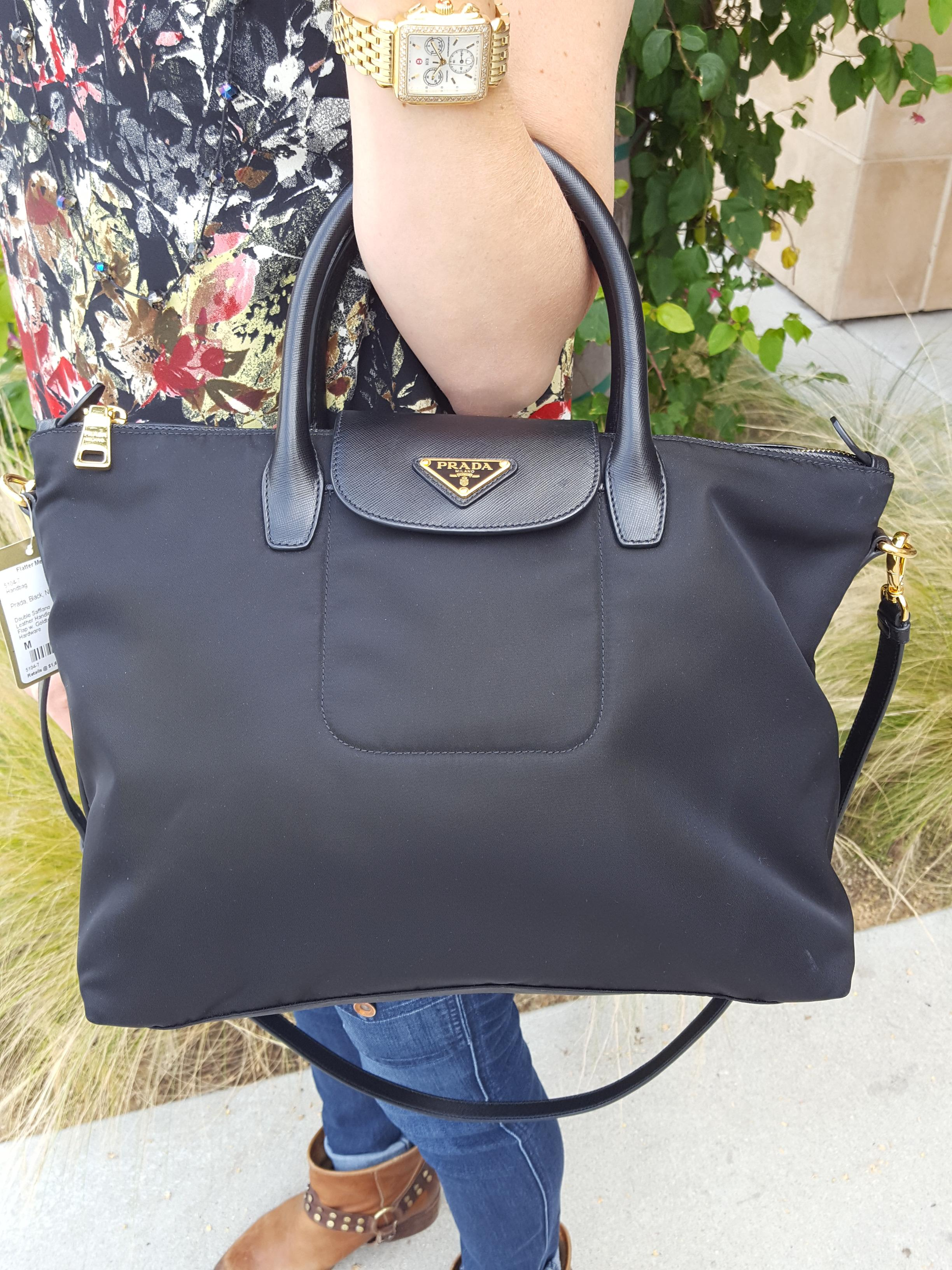 PRADA~ Black, Nylon, Saffiano Leather Purses, Handbags Price: $950.68
