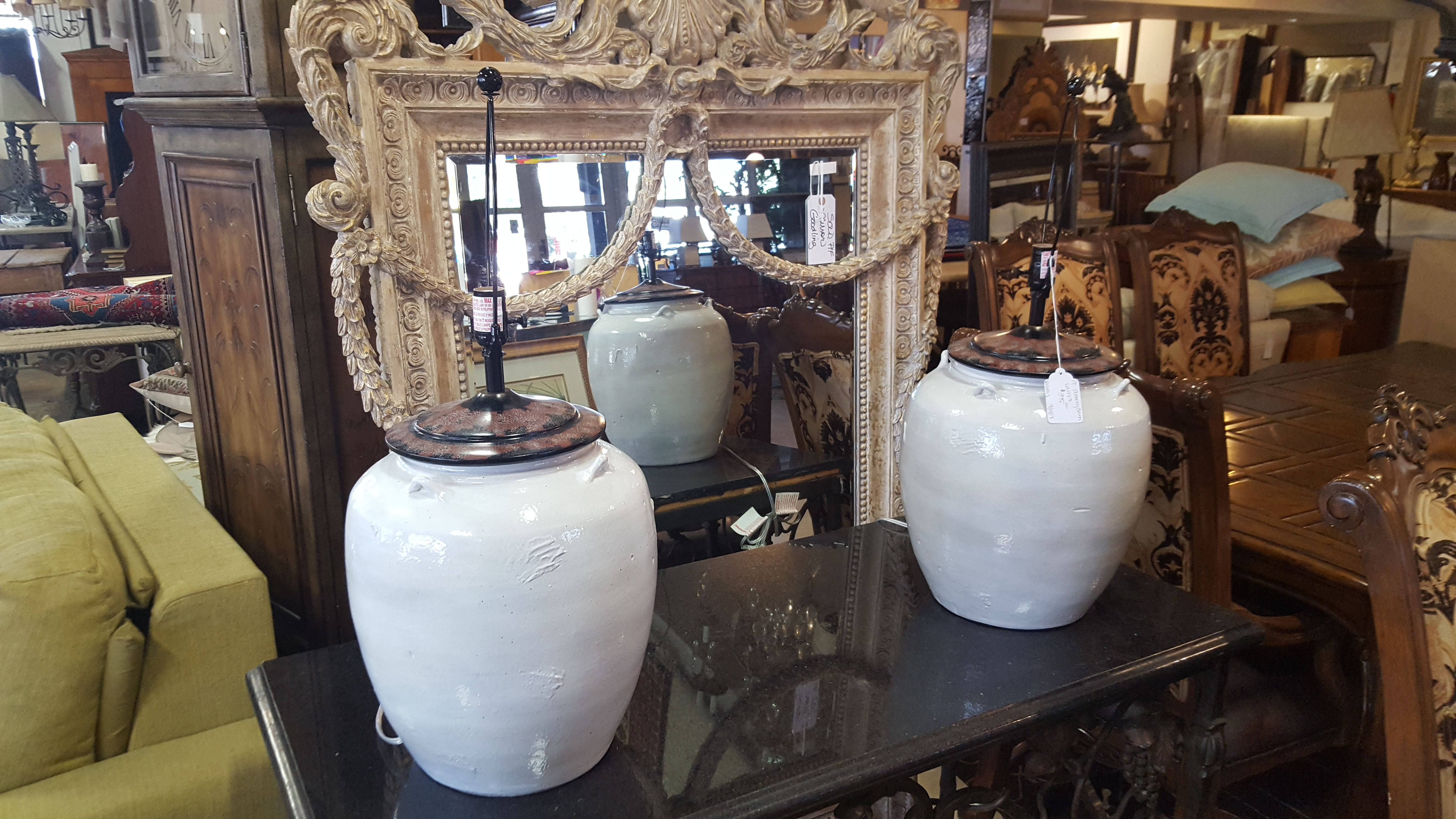 Beautiful pair of Ceramic pottery barn Lighting, Lamps Price: $375.00