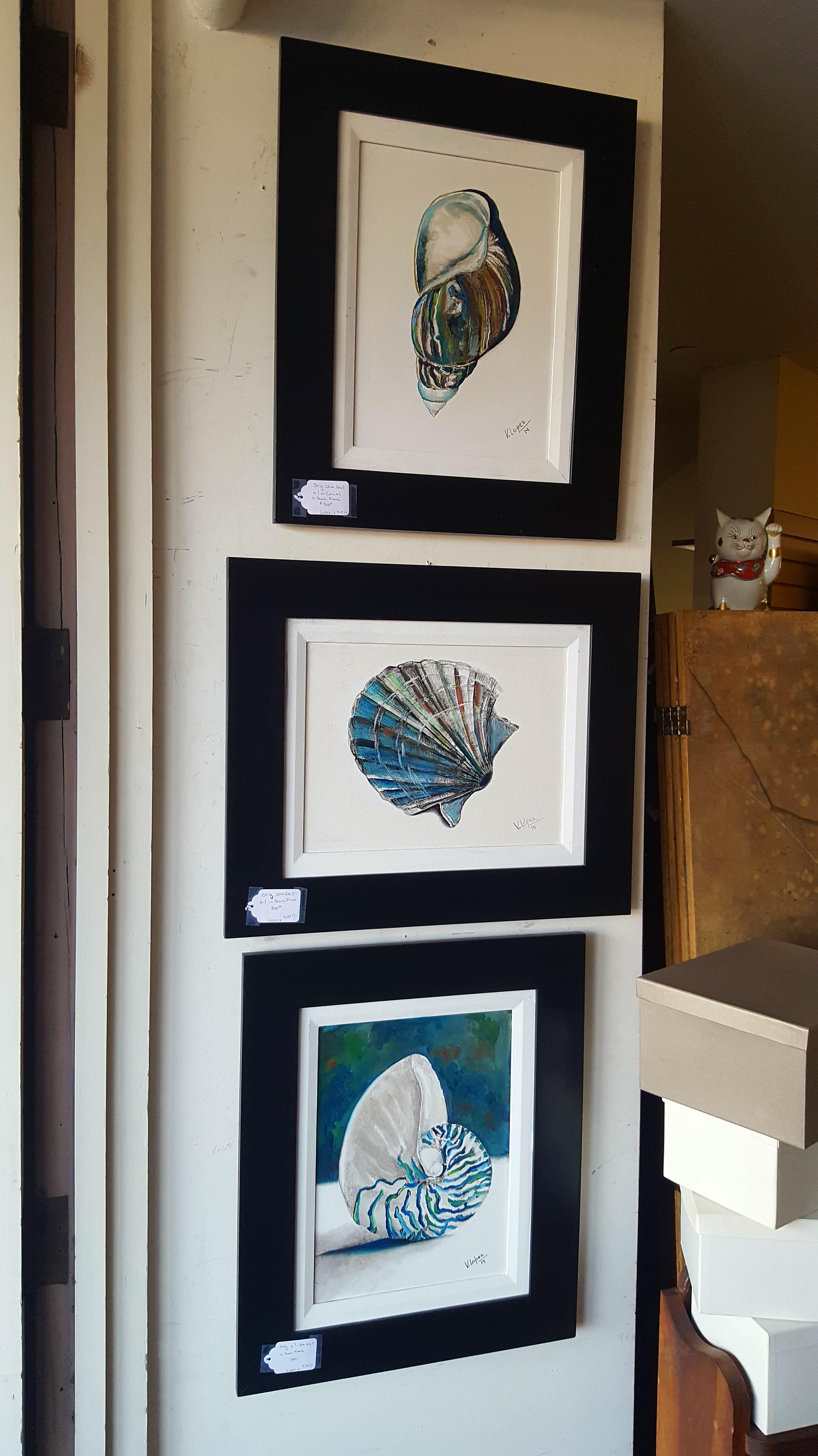 Set of 3 Original sea shell oil on Paintings Price: $930.00