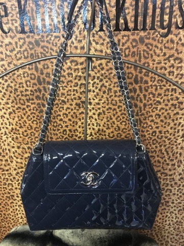 CHANEL~  Navy, Quilted Patent Leather. Purses, Handbags Price: $2588.99