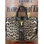 YSL~  Grey, Pony Hair, Brown Cheetah Print, Double Black Leather Handles. For Sale