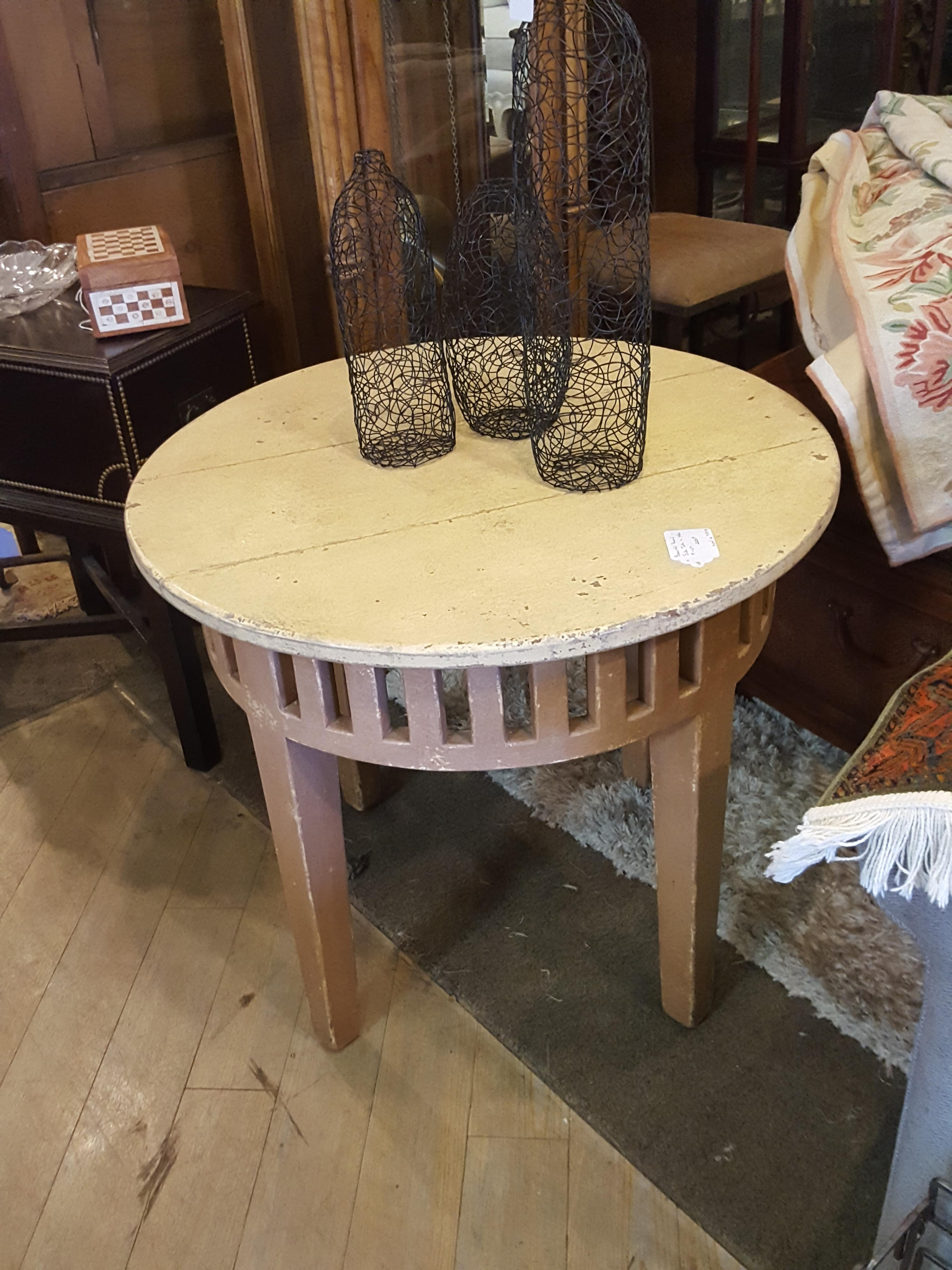 Carved wood distressed side table by Tables, Desks, Stands Price: $225.00
