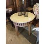 Carved wood distressed side table by