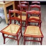 Cane bottom Cherry Dining chairs-set of six For Sale