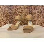 Jimmy Choo~ Nude, Leather, Covered Heel, w/Wide Strap Sandle Like. For Sale