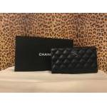 Chanel~ Black, Lambskin, Quilted, Bi-Fold, CC  Front Emblem, Silvertone Hardware. For Sale
