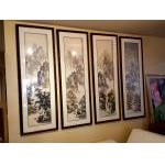 Set of 4 Original Ink & Colour on scroll paper Four Seasons. Framed in bamboo. For Sale