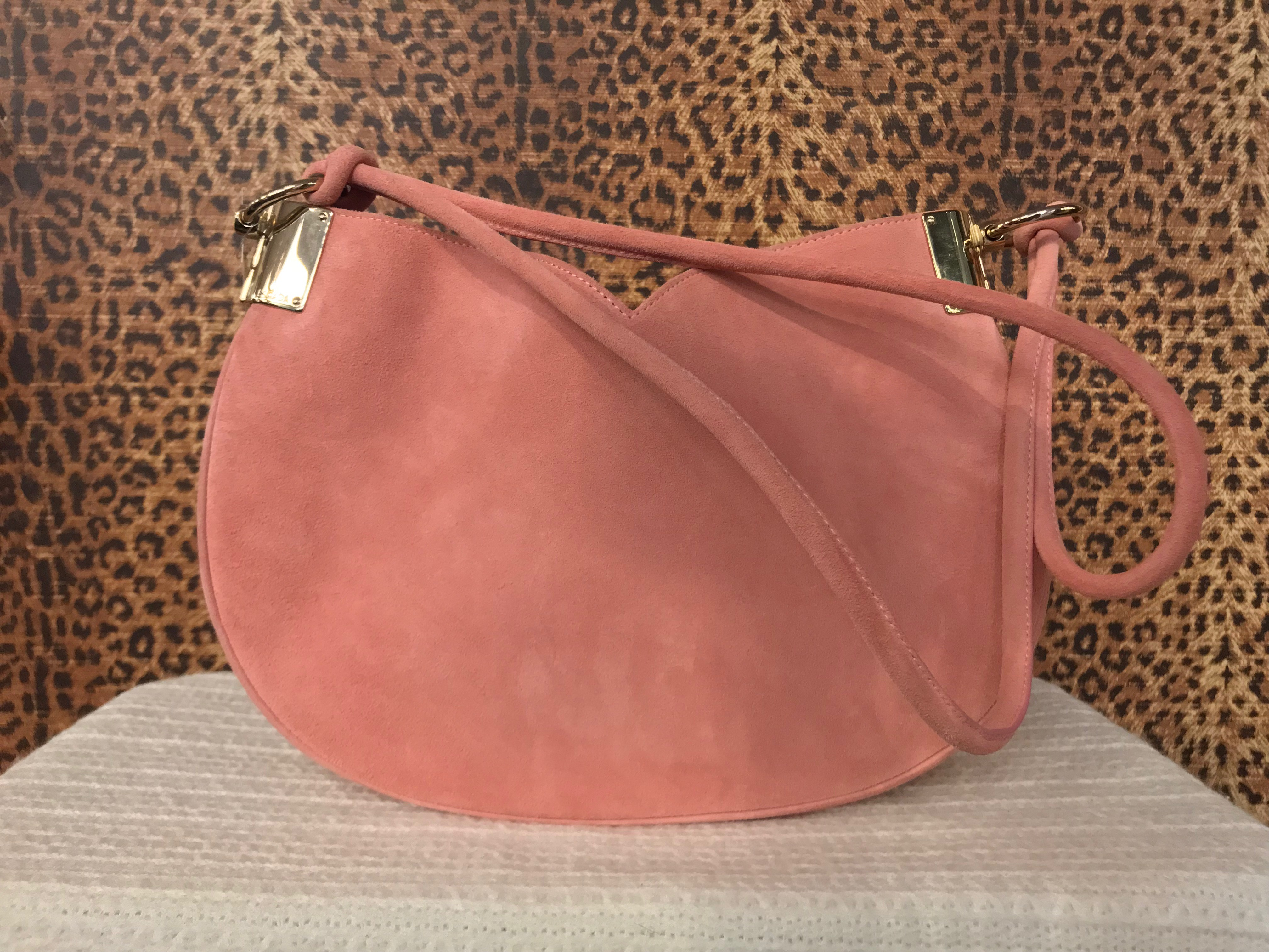 Escada~ Pink, Suede,  Dbl Handle, Purses, Handbags Price: $248.99