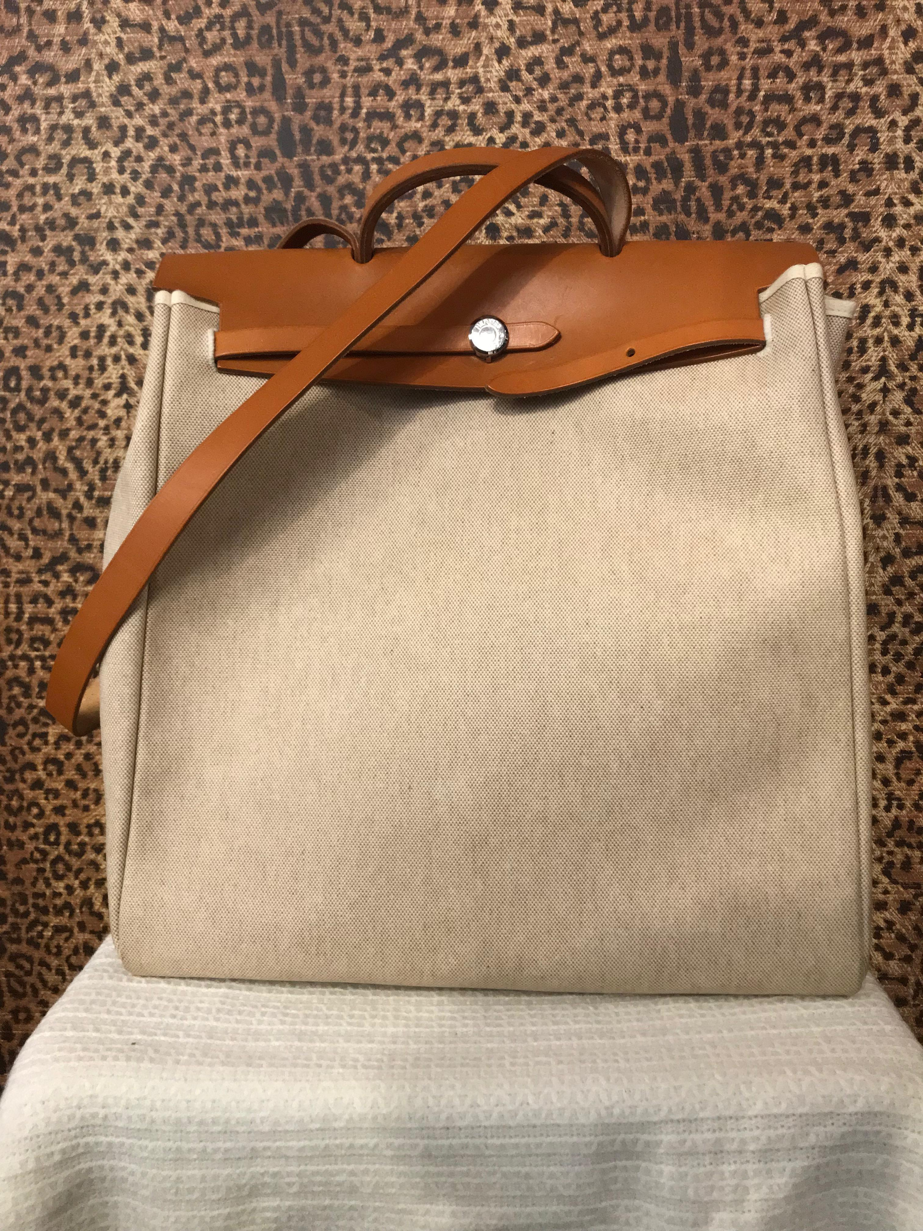 Hermes~ Canvas, Travel Tote, 2Piece, Purses, Handbags Price: $1337.95