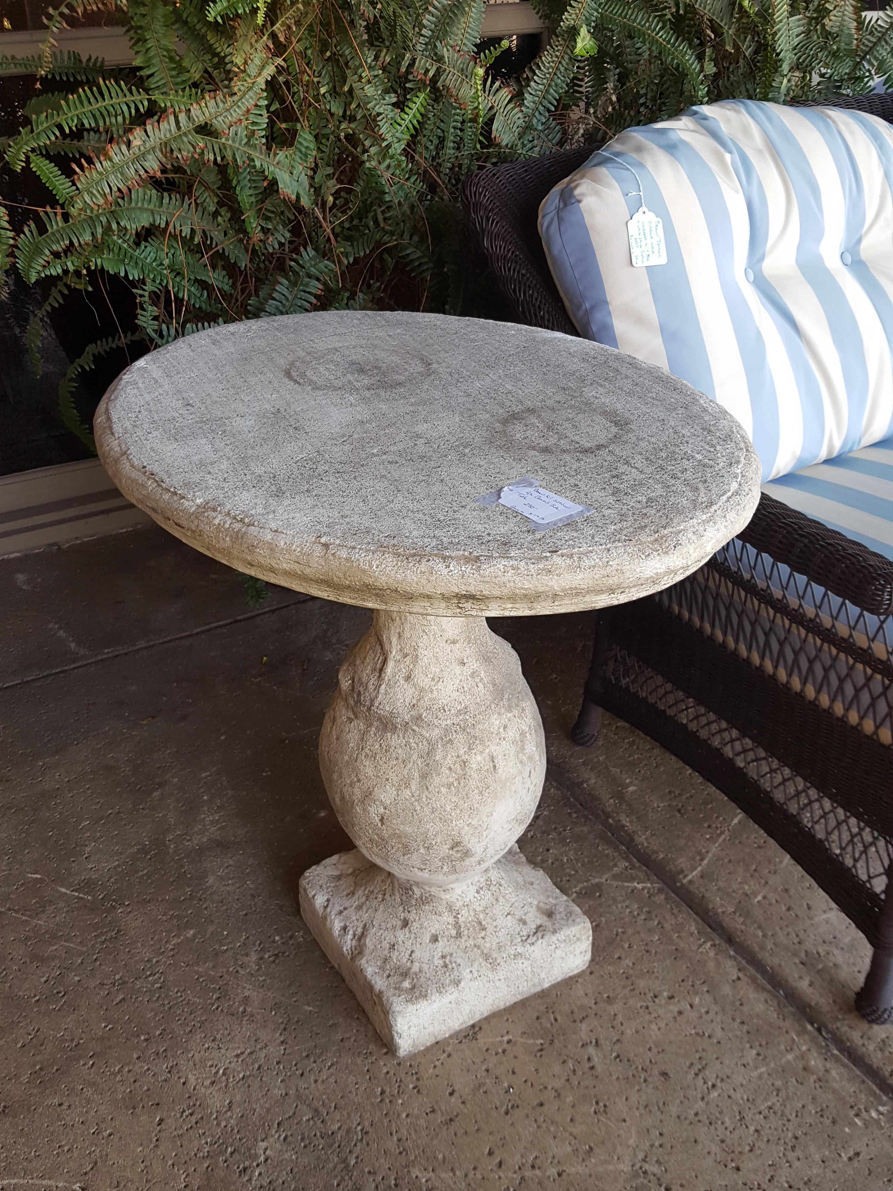 Heavy Pc Oval Outdoor Cement Side Garden Outdoors - Outdoor cement side table