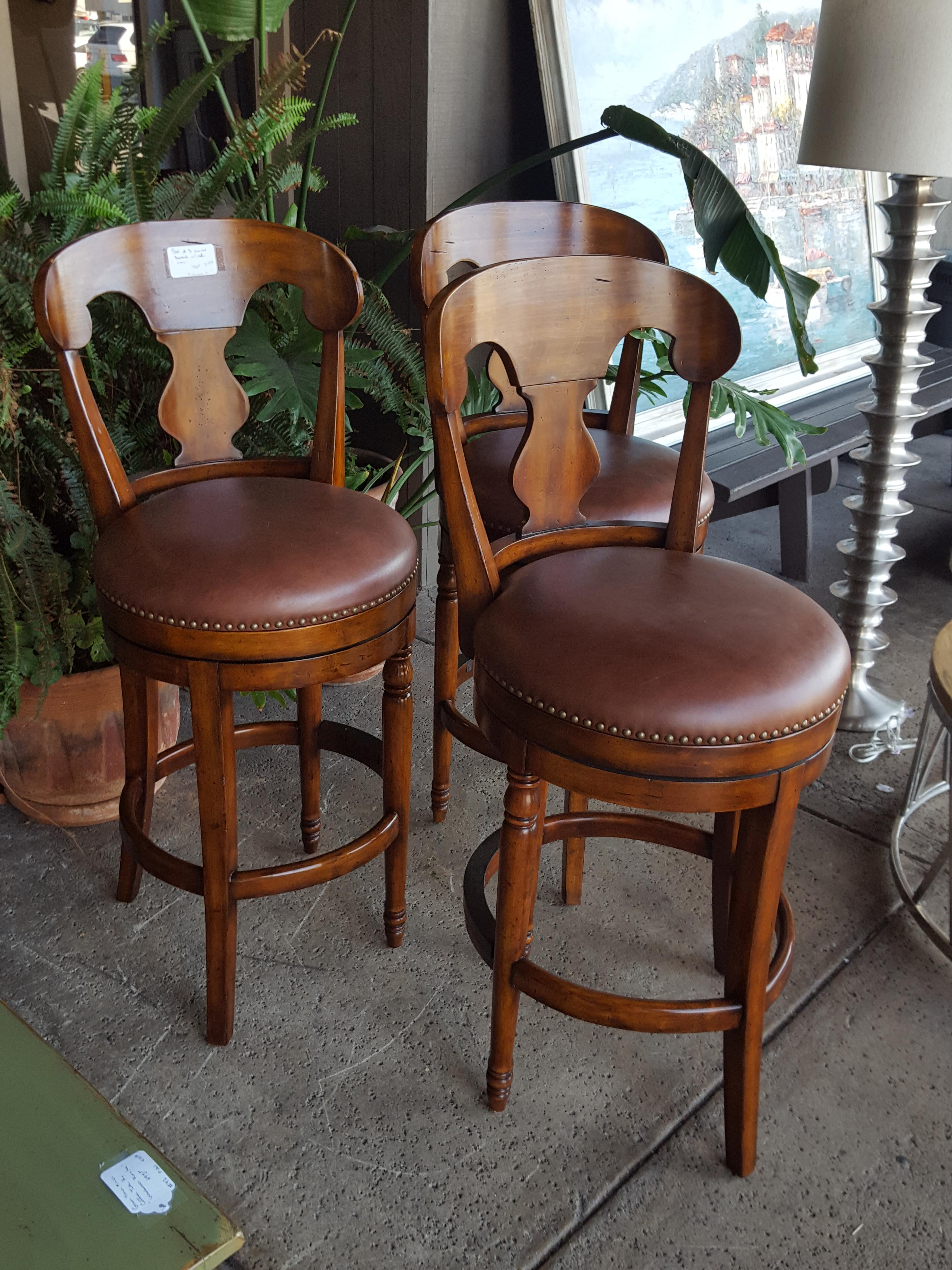 Set of 3 mahogany finished counter Chairs, Benches, Stools Price: $750.00