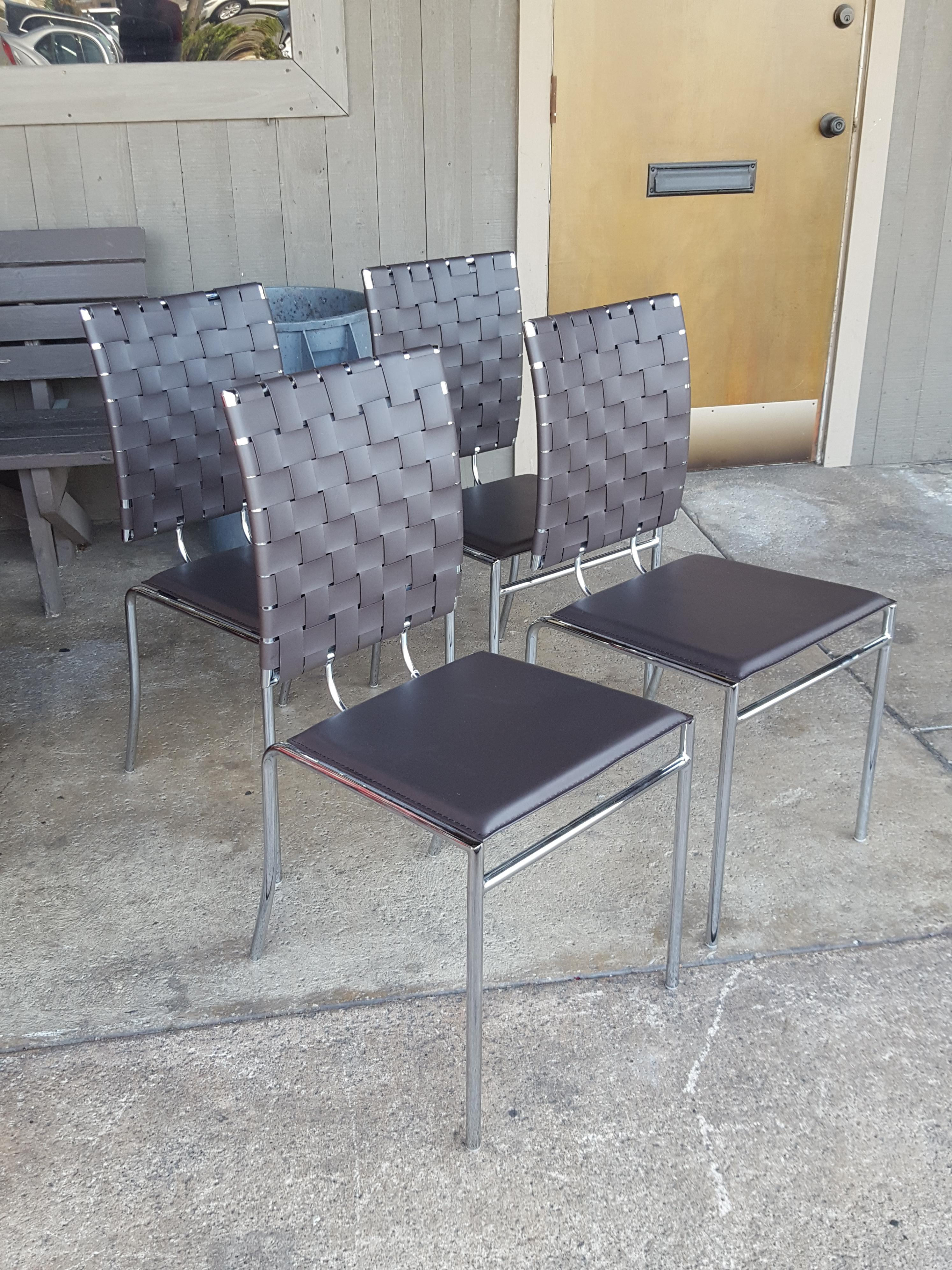 Set of 4 modern dark brown leathet bond Chairs, Benches, Stools Price: $275.00